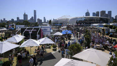 """'Grand Slam Oval' is a sprawling expanse of food, drink and sponsor activities. Australian Open chiefs says their entertainment vision is only at """"2/10"""" stage."""