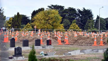Graves being prepared for the victims of the shooting in Christchurch.