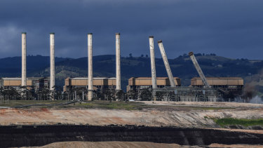 The chimneys of the former Hazelwood Power Station in the LaTrobe Valley, Victoria, were demolished on Monday this week.
