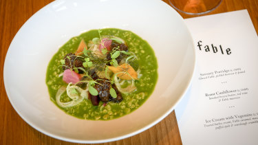 Dinner's chefs prepared a version of Heston Blumenthal's snail porridge using Fable in place of snails.