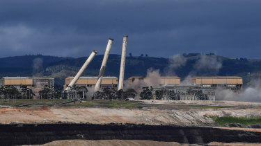 The eight chimneys on the former Hazelwood Power Station are demolished with explosives in May 2020.