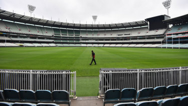 The hulking stands have been eerily silent at the MCG while the COVID-19 pandemic forces a close of play.