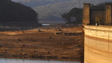 Cordeaux Dam is about 40 per cent full, while Sydney's reservoirs are now below 55 per cent capacity - and falling.