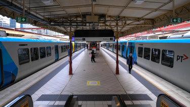 Flinders Street station during Melbourne's lockdown.