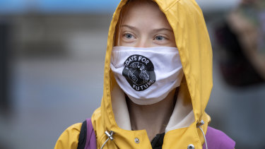 Swedish climate activist Greta Thunberg attends a Fridays For Future protest outside the Swedish Parliament in Stockholm in October.