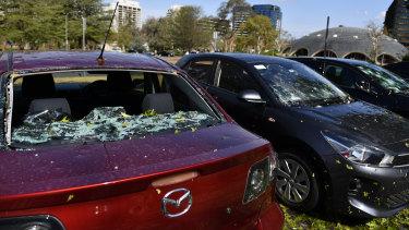 Hail damaged cars in Canberra.