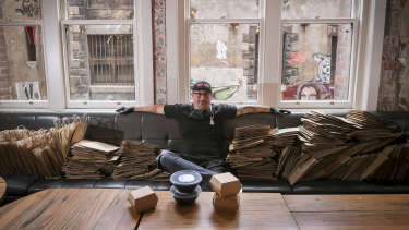 Benjamin Cooper, head chef at Chin Chin, co-ordinating deliveries from the empty restaurant.