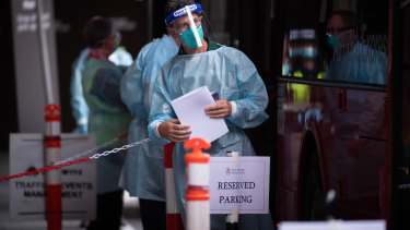 A hotel quarantine worker in Melbourne this month.