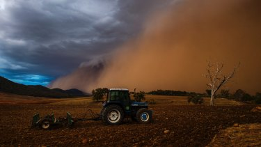 A dust storm hanging over Orange last month.