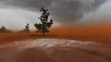 Dust near Narrandera: cooler weather doesn't mean the fire season is over.