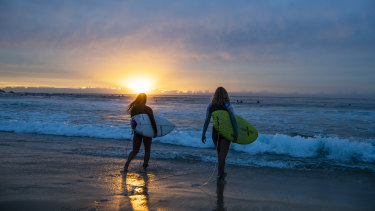 Maroubra beach at sunrise, the day it reopened - Monday April 20,2020.