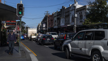 Newtown's King Street is often congested with traffic.