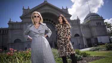 Grand vision ... Designer Carla Zampatti (left) with a model ahead of Wednesday night's Grand Showcase at the Virgin Australia Melbourne Fashion Festival.