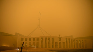 Parliament House in Canberra engulfed in bushfire smoke.
