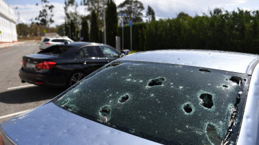 A hail-damaged car in Canberra on Monday this week.