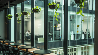 The private cafe at Hub Australia's premises at Customs House, Sydney
