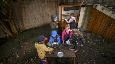 The kids at Diamond Creek Memorial Kindergarten have a mud pit and a mud kitchen where they make potions.