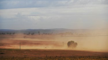 Sign of the times:  Dust whipped up near Narrandera as a cold front moved through on Friday.