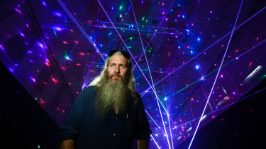 Artist Robin Fox is developing a new installation featuring lasers and crystals at North Melbourne town hall