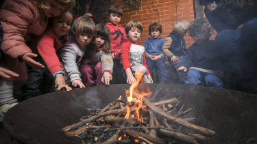 Kinder kids learn all about fire at the East West Child Care Association in Fitzroy.