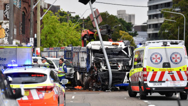 The truck crash on Botany Road at Green Square on Wednesday.