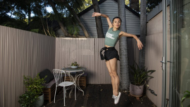Sydney Dance Company's Charmene Yap makes the best of the available space at her home in Newtown.