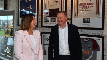 Labor leader Anthony Albanese and Eden Monaro candidate Kristy McBain campaigning in Queanbeyan on Saturday.