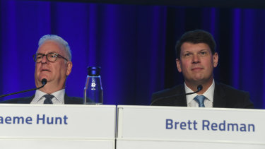 AGL chairman and interim chief executive Graeme Hunt with former chief executive Brett Redman at the 2019 annual general meeting. Mr Redman left the company just two weeks ago.