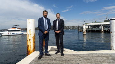 Transport Minister Andrew Constance with Manly MP James Griffin.