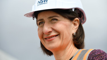 Premier Gladys Berejiklian inspects the almost-completed M4 WestConnex tunnels last week.