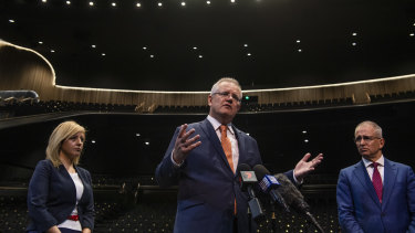 Prime Minister Scott Morrison and Arts Minister Paul Fletcher at Sydney Coliseum Theatre, Rooty Hill RSL.