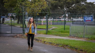 """Springvale resident Zoe Mohl, outside Sandown Racecourse, says the number of houses planned on the site is """"extreme""""."""