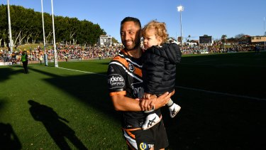 Benji Marshall with son Fox at his beloved Leichhardt Oval last year.