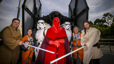 Star Wars fans in costume as the last movie in the franchise is released.