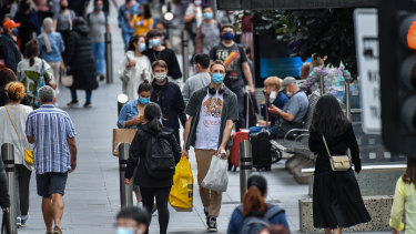 Shoppers return to Bourke Street Mall after Melbourne's second COVID lockdown.