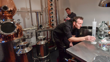 Brothers Brad and Jarrod Wilson make gin for Little Lon Distilling Co at the heritage-listed 17 Casselden Place, built in 1877.