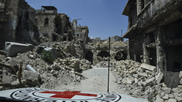 Destruction in the ancient city of Aleppo ...  egregious breaches of the the the Geneva Conventions persist in countries such as Syria, Yemen and South Sudan, but Monday marks 70 years of the rules of war saving lives.