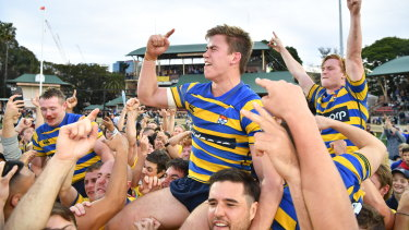 Captain's knock: Uni's Guy Porter celebrates after Sydney University won the Shute Shield for the first time in five years in September.