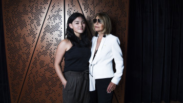 Carla Zampatti (right) with the inaugural winner of the Carla Zampatti Foundation Design Award, Sarah Lim.