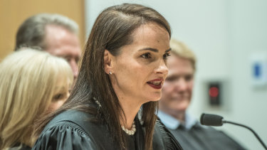 Magistrate Louise Taylor, who was sworn in at the ACT Magistrates Court on Monday morning.