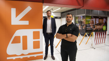 James Coffey and Charles Estephen, co-owners of 12RND Fitness in Martin Place, are in a legal battle with RailCorp.