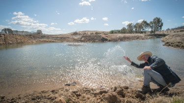 A new dam at Jillamatong, dug just two weeks ago, immediately started to fill up with groundwater.