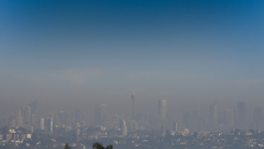 Smoke blankets Sydney, as seen from Dover Heights.
