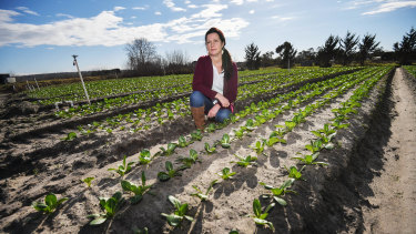 Tash Shields on Peninsula Fresh Organics' farm in Baxter.