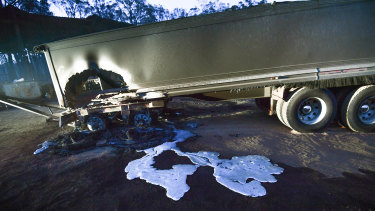 A melted truck trailer at Peter Riley's property in Clifton Creek.