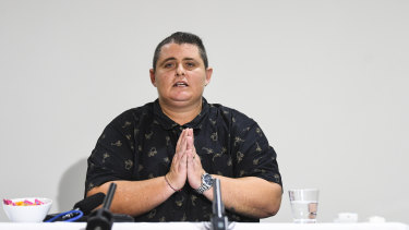 Ms Lawrence speaks during a press conference in Canberra on Sunday.