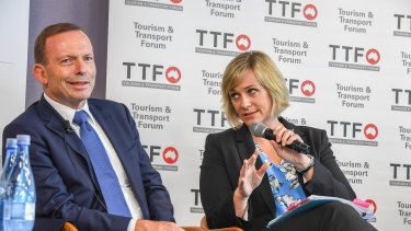 Tony Abbott and Zali Steggall at the Tourism and Transport Forum.