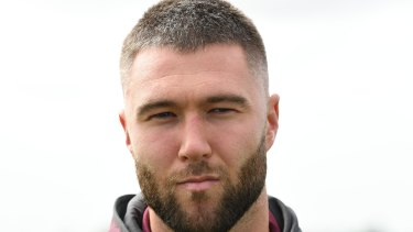 Confronting: Curtis Sironen and three Manly teammates visited the Al Noor Mosque on Thursday.