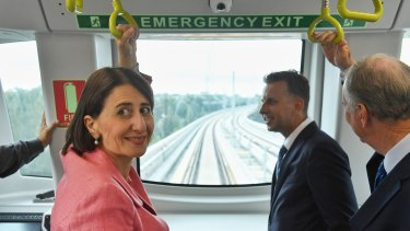 Premier Gladys Berejiklian and Transport Minister Andrew Constance take a ride on a metro train in Sydney's north west.