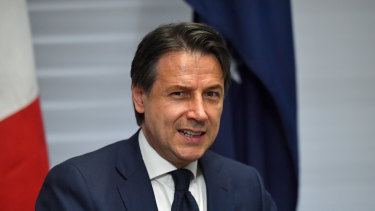 Italy's Prime Minister Giuseppe Conte at a Bilateral Meeting during the G7 Summit in the town of Biarritz.